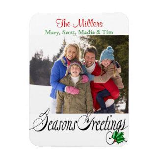 Seasons Greetings Merry Photo Rectangular Photo Magnet