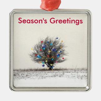 seasons greetings metal ornament
