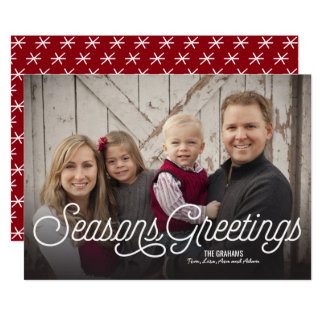 Seasons Greetings Modern Holiday Full 1-Photo Card