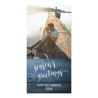 Season's Greetings Modern Script Blue Rustic Wood Card