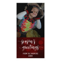 Season's Greetings Modern Script, Red Bokeh Lights Card