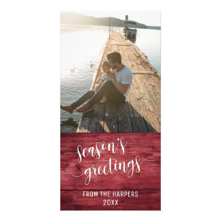 Season's Greetings Modern Script Red Rustic Wood Card
