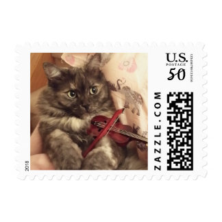 Season's Greetings Musical Cat Postage Stamp