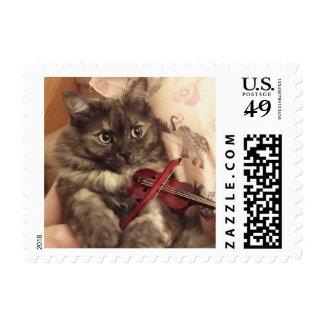 Season's Greetings Musical Cat Postage Stamp
