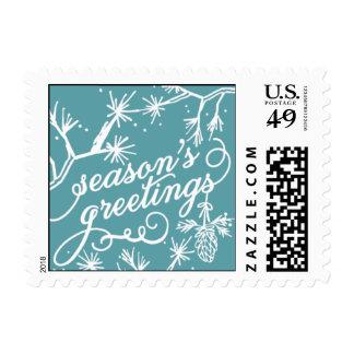 Seasons Greetings - Navy Blue & Teal Postage