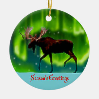 Season's Greetings - Northern Lights Moose Ceramic Ornament