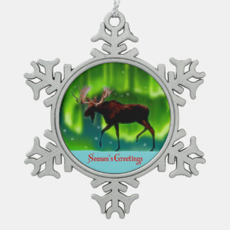 Season's Greetings - Northern Lights Moose Snowflake Pewter Christmas Ornament