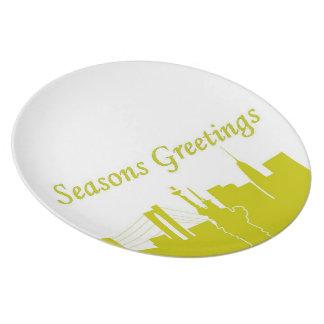 Seasons Greetings NYC Melamine Plate