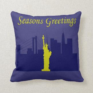 Seasons Greetings NYC Pillow