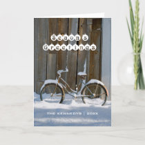 Season's Greetings - Old bicycle covered in snow Holiday Card