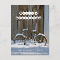 Season's Greetings - Old bicycle covered in snow Holiday Postcard