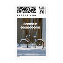 Season's Greetings - Old bicycle covered in snow Postage
