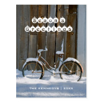 Season's Greetings - Old bicycle covered in snow Postcard