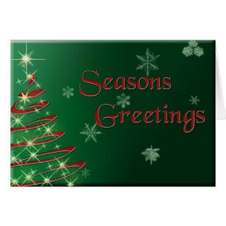 Seasons Greetings on Green Background Card