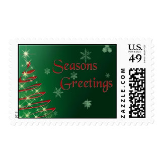 Seasons Greetings on Green Background postage