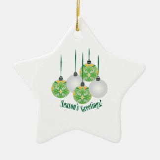 Seasons Greetings Double-Sided Star Ceramic Christmas Ornament
