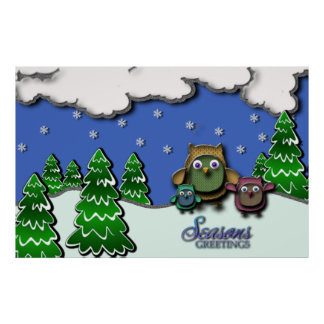 Seasons Greetings Owl Family 2 poster