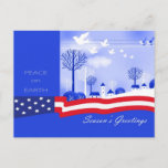 """Season's Greetings. Peace on Earth Christmas Postcard<br><div class=""""desc"""">Season's Greetings. Merry Christmas and a Happy New Year. Peace on Earth. Patriotic design Christmas Postcards. Matching cards and gifts available in the  Christmas and New Year Category of our store.</div>"""