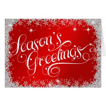 Season's Greetings PERSONALIZED Elegant Red Card