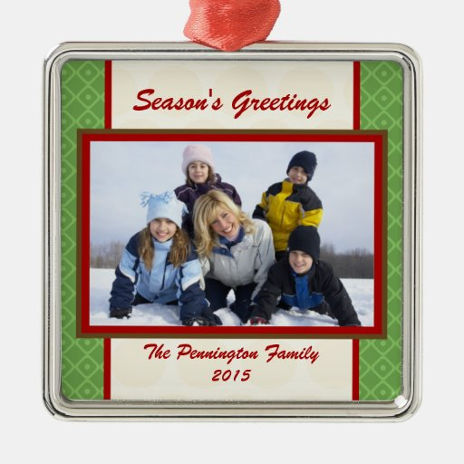 Season's greetings personalized photo ornament
