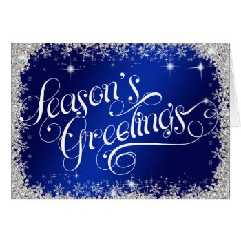 Season's Greetings PERSONALIZED Royal Blue Card