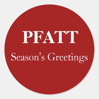 Season's Greetings, PFATT Classic Round Sticker