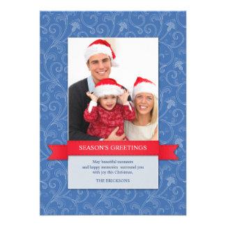 Season's Greetings Photo Blue Flat Card