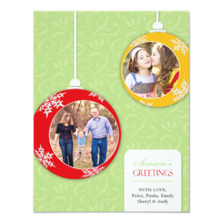 Season's Greetings Photo Ornaments Flat Card