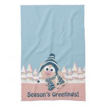 Season's Greetings pig Kitchen Towel