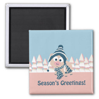 Season's Greetings pig Magnet