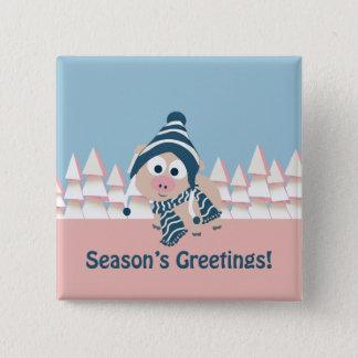 Season's Greetings pig Pinback Button