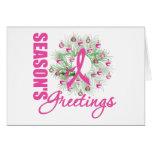 Season's Greetings Pink Ribbon Wreath Greeting Card