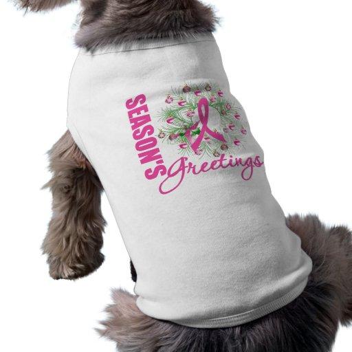Season's Greetings Pink Ribbon Wreath Dog Clothes