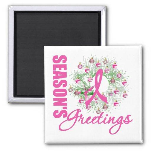 Season's Greetings Pink Ribbon Wreath Refrigerator Magnet