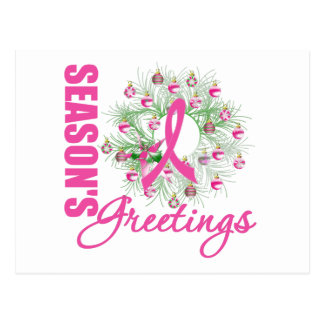 Season's Greetings Pink Ribbon Wreath Postcard