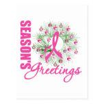 Season's Greetings Pink Ribbon Wreath Postcards