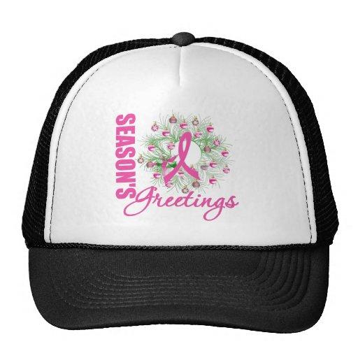 Season's Greetings Pink Ribbon Wreath Trucker Hat