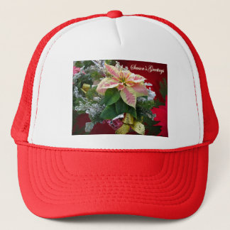 Season's Greetings Poinsettia Floral Hat