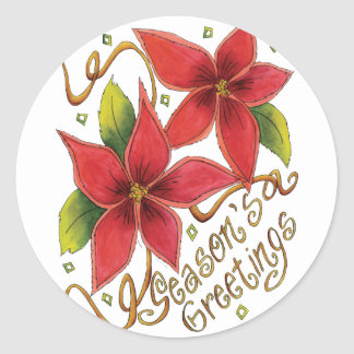 Season's Greetings Poinsettias Classic Round Sticker