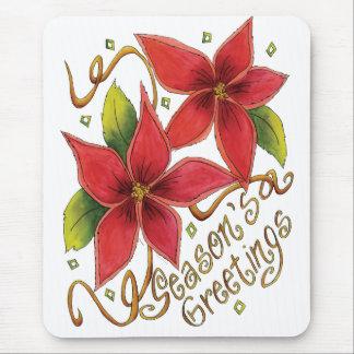 Season's Greetings Poinsettias Mouse Pad