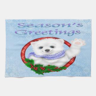 Season's Greetings Polar Bear Kitchen Towel