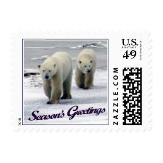 Season's Greetings Polar Bear Mom & Cub Stamp (SMA