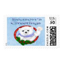 Season's Greetings Polar Bear Postage Stamps