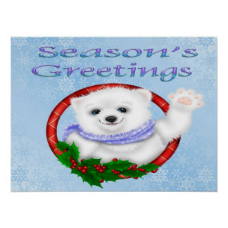 Season's Greetings Polar Bear Poster/Print Poster