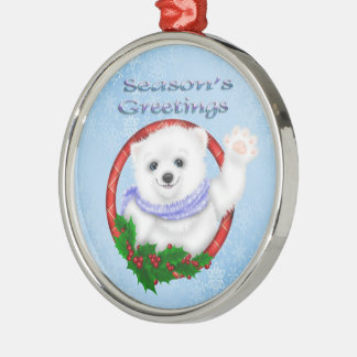 Season's Greetings Polar Bear Premium Round Orname Metal Ornament