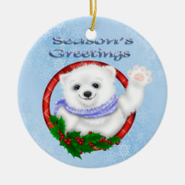 Season's Greetings Polar Bear Round Ornament