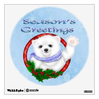 Season's Greetings Polar Bear Round Wall Decal