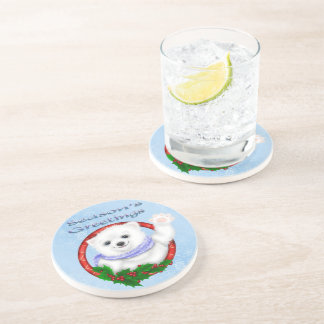 Season's Greetings Polar Bear Sandstone Drink Coas Coaster