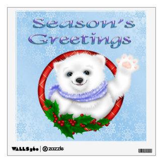Season's Greetings Polar Bear Square Wall Decal