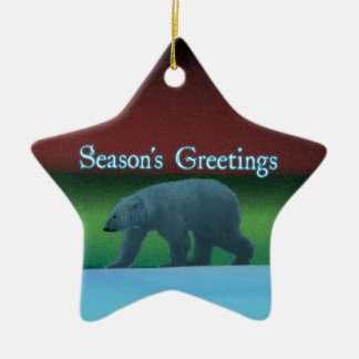 Season's Greetings - Polar Lights Polar Bear Ceramic Ornament